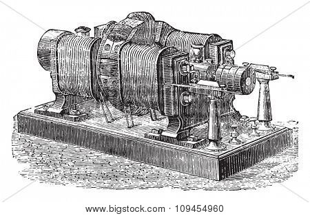Dynamo Brush, vintage engraved illustration. Industrial encyclopedia E.-O. Lami - 1875.