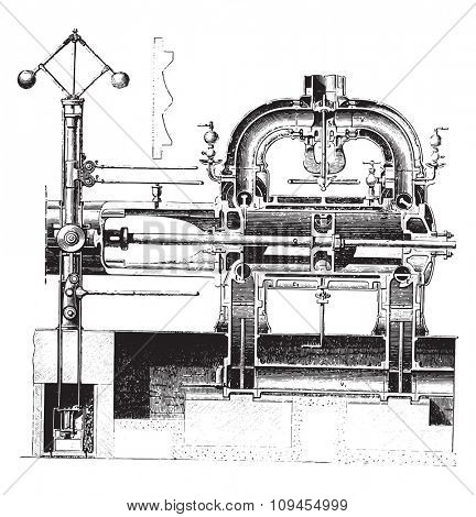 Cylinder Cup Corliss machine and views of the cam controller, vintage engraved illustration. Industrial encyclopedia E.-O. Lami - 1875.