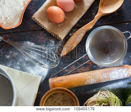 Kitchen utensils on the old kitchen table
