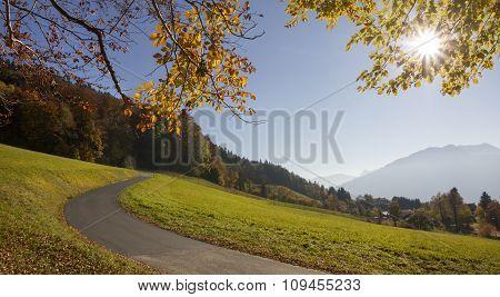 Winding Way At The Hillside, Beautiful Autumn Landscape