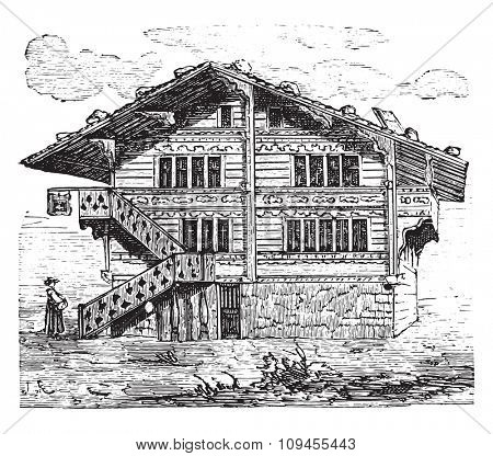 House, Swiss Chalet, vintage engraved illustration. Industrial encyclopedia E.-O. Lami - 1875.