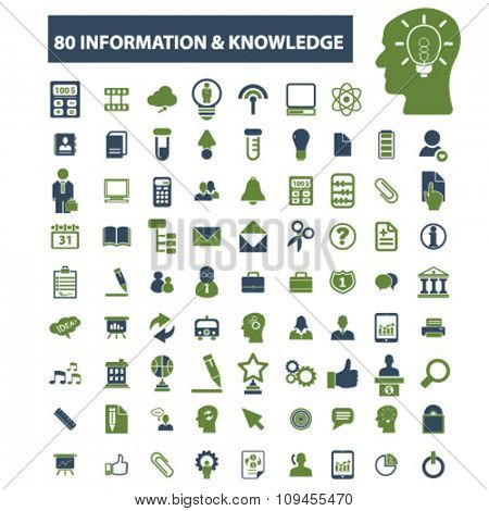 information knowledge, science, education, learning, study, research  icons, signs vector concept set for infographics, mobile, website, application
