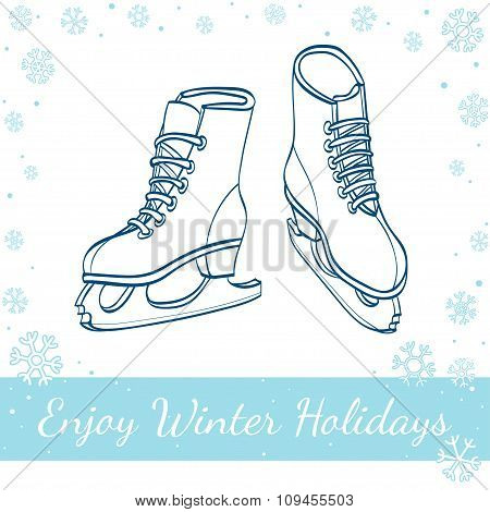 Winter Ice Skates. Vector Hand Drawn Illustration