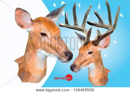 Two deer, male and female wild animals,head with horns reindeer, figure in the polygon graphics