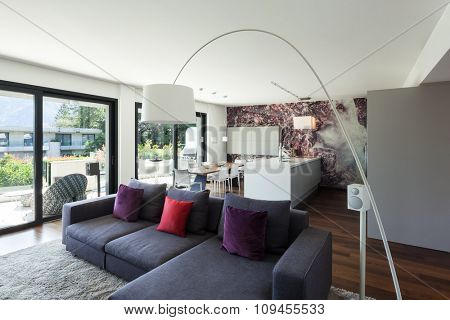 Interior of modern house, beautiful living room furnished