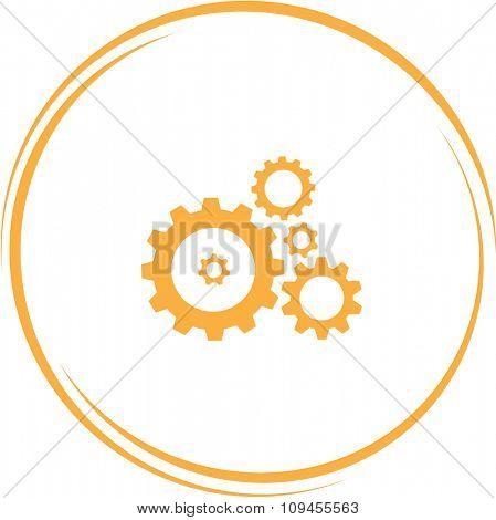 gears. Internet button. Raster icon.