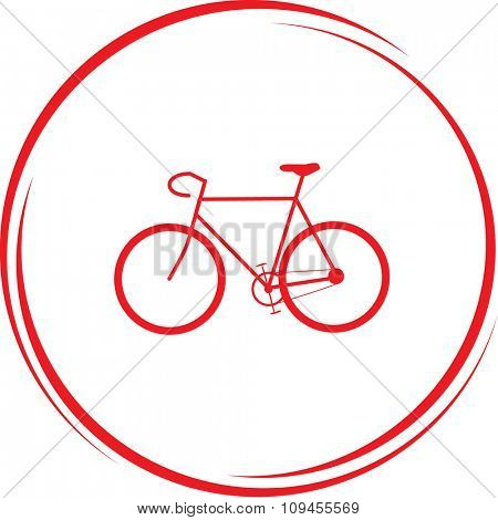 bicycle. Internet button. Raster icon.