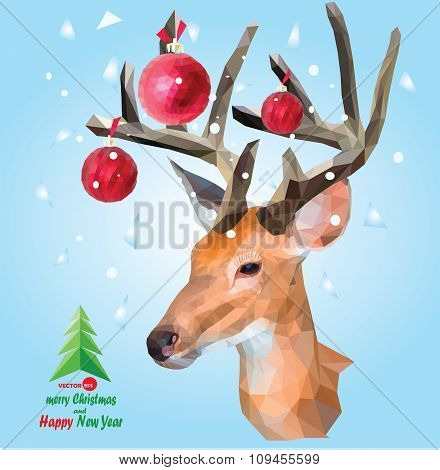 Christmas card with head deer with horns and colors balls on a winter snow background, tree