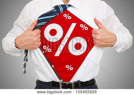 Sale and special offer as concept on a red shirt of a business man
