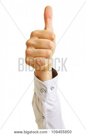 Hand of a business manager holding thumbs up