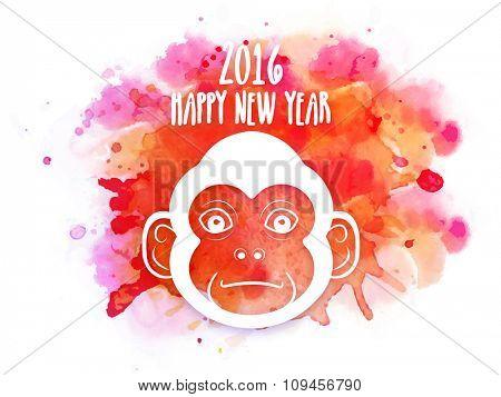 Cute Monkey face on colorful splash for Chinese New Year 2016 celebration.