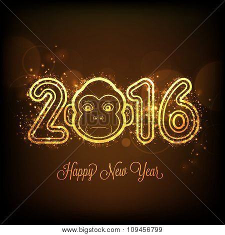 Stylish golden text 2016 with cute Monkey face on shiny brown background for Happy New Year celebration.