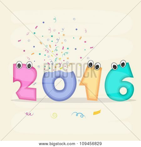 Colorful stylish text 2016 with eyes for Happy New Year celebration.