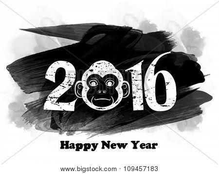 Stylish text 2016 with Monkey on paint stroke background for Chinese New Year celebration.