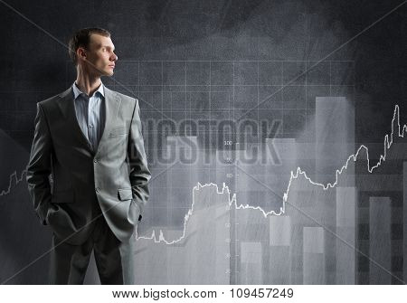 Confident businessman sure in success