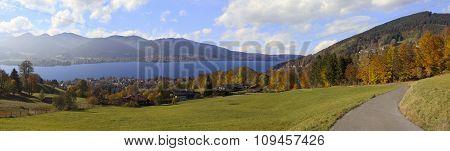 Hillside Walkway With Panoramic View To Lake Tegernsee, Bavaria