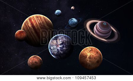 High quality isolated solar system planets. Elements of this image furnished by NASA