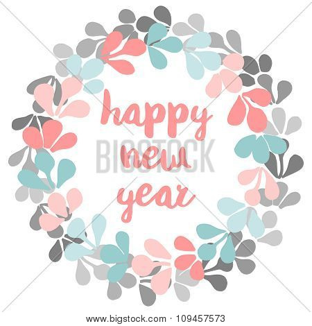 Happy New Year pastel vector card