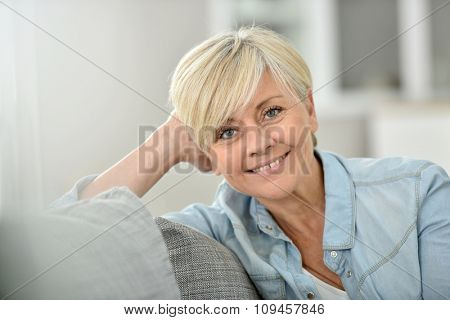 Closeup of attractive senior woman