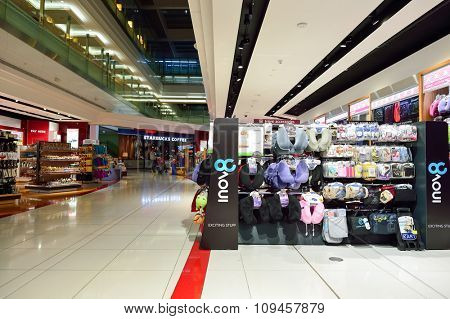 DUBAI, UAE - NOVEMBER 21, 2015: interior of Dubai Duty Free. Dubai Duty Free is the largest single airport retail operation in the world