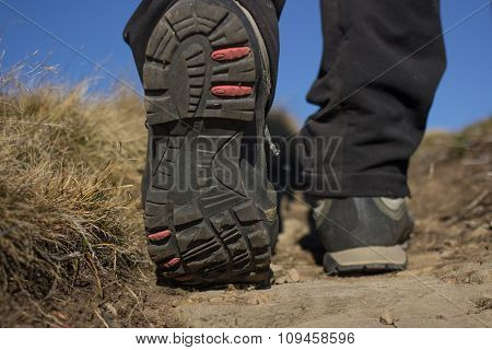 Man hiking in the mountains.