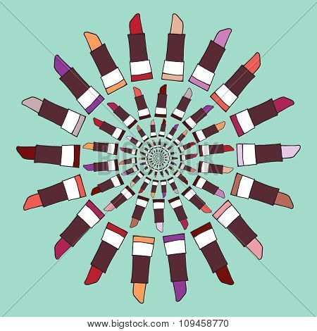 Colorful Lipstick Label Vector Illustration