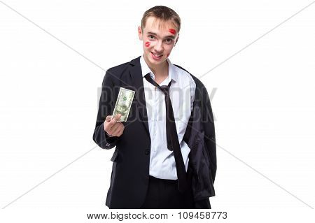 Happy man with dollars in kisses