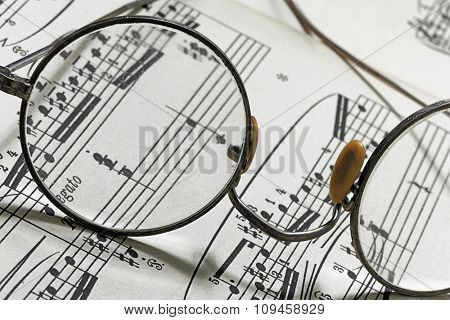 glasses on a note sheet