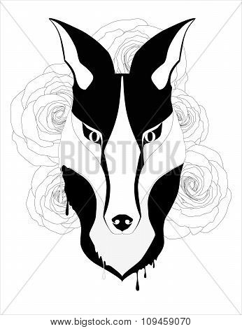 Black white tatoo style fox for decoration