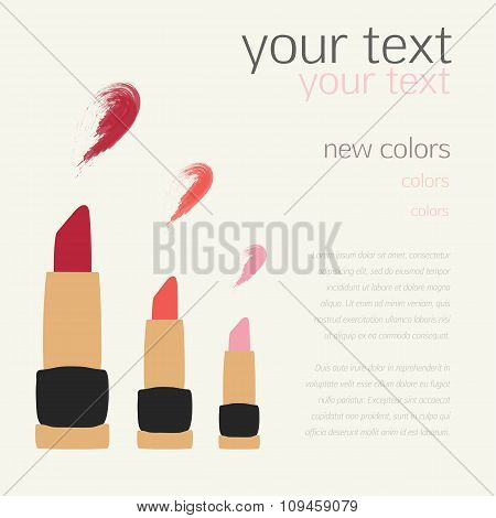 Lipstick Swatches Flat Vector Templates Design