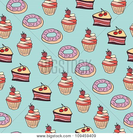 Seamless Pattern With Desserts