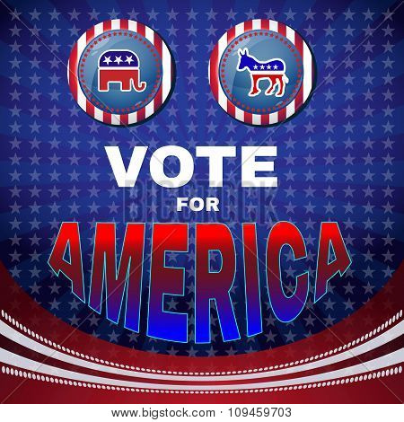 Vote For America Elephant Versus Donkey Banner