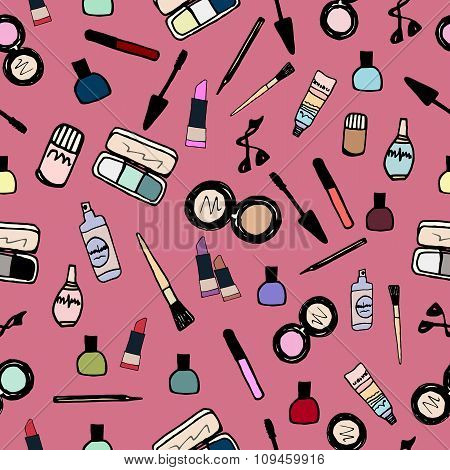 Make-up Cosmetics Seamless Pattern Color