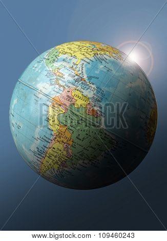 sunrise over globe