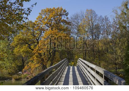 Wooden Bridge Over Mangfall River