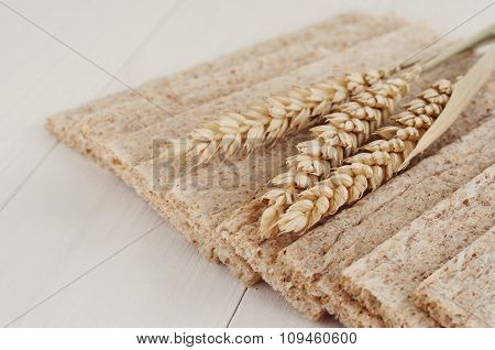 Dry Diet Crisp Breads With Ears Of Wheat