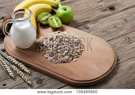 Oatmeal With Fruit And Milk. Muesli