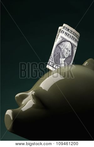 piggy bank w/note stuck in
