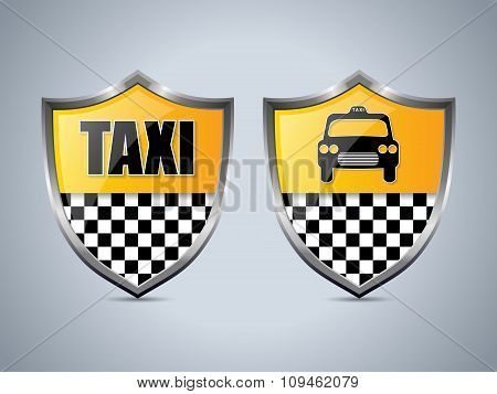 Taxi Shield Badge Design Set