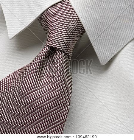 white collar with neatly tied necktie - four in hand knot