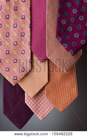colorful ties - pink hue