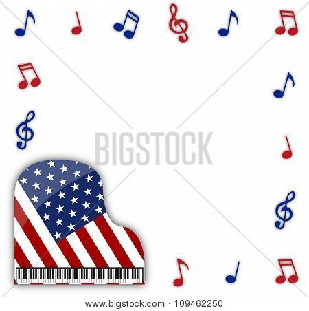 American Grand Piano With Notes
