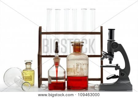 laboratory items - microscope, test tubes, etc.