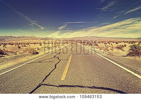 Vintage Toned Endless Desert Highway, Usa.