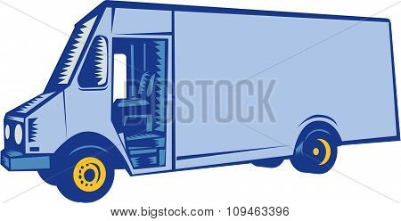 Delivery Van Side Woodcut