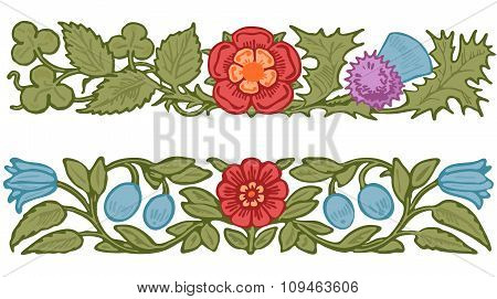 Collection decorative design of  flowers and leaves in vintage style