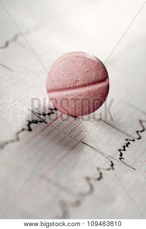 a pink pill on an electrocardiogram sheet
