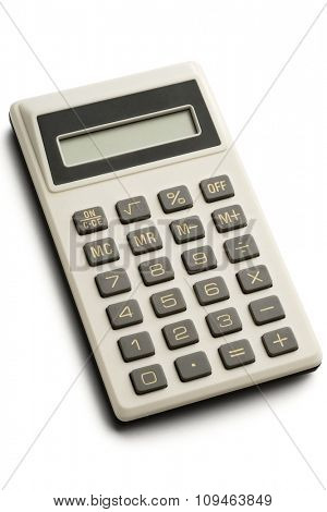 an electronic calculator on white - with clipping path
