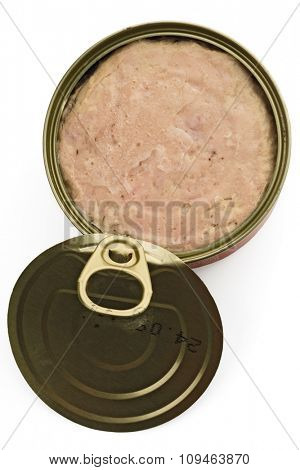 an open can of spam on white