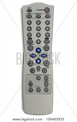 a tv and vcr remote control on white - with clipping path